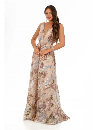 Carmen Payet Askılı Prenses Abiye Elbise Pudra